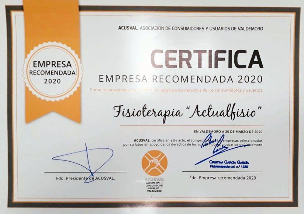 Recibimos el premio Empresa Recomendada por AcusVal